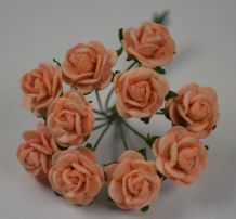 1 cm PALE PEACH Mulberry Paper Roses